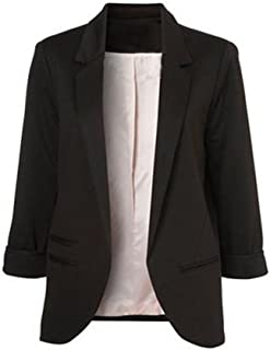 Tomsweet Womens Ladies Blazer Solid 3/4 Sleeve Cardigan Lapel Collar Open Front Suit Jacket Coat Tops Outerwear