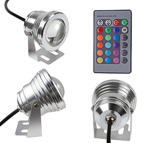 Unterwasser-LED-Scheinwerfer, 10W 12V wasserdichtes LED-Flutlicht-Dekor für Brunnen-Teich-Licht-Pool-Bühnenlampen mit Fernbedienung RGB