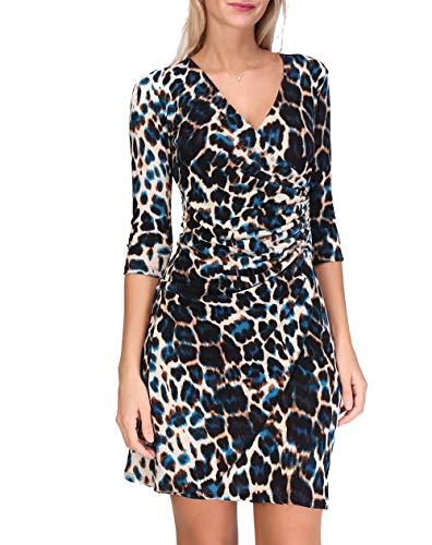 Revdelle - Robe Cache Coeur Col V Made in France Manches 3/4 pour Femme Imprimer Leopard Myriam