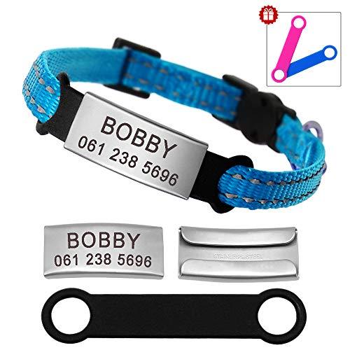 Didog - Collar para gatos con placa de acero inoxidable personalizable, reflectante, sin ruido, deslizable, para gatos y perros pequeños