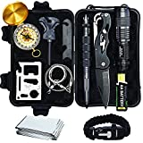 - Batteries Included - Complete 12 in 1 Emergency Survival Kit by Sealed Products - Ultimate Outdoor Emergency Camping Tool with Paracord Bracelet, Compact Knife, Multitool, and More