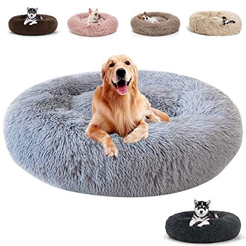 JRUI Hundebett Flauschig für Große Hunde, Rund Plüsch Hundekissen Katzenbett Flauschig Waschbar, Hundesofa Hundekörbchen für Mittelgroße Hunde - Hellgrau 120x120x20cm