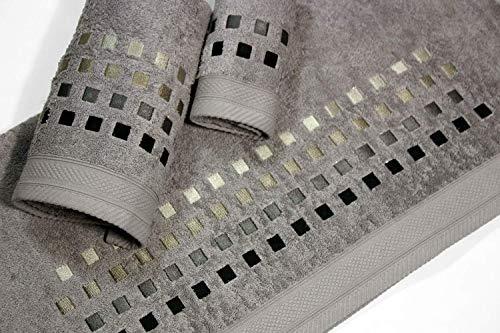 Montse Interiors geborduurde handdoek september 3 Pieces 550 g (vierkante grijze No10)