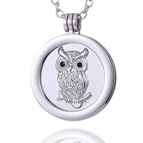 Morella Collana Donna 70 cm Acciaio Inossidabile con Coins Moneta amuleto Ciondolo Rotondo 33 mm Gufo e zirconi Argento in Sacchetto di Velluto