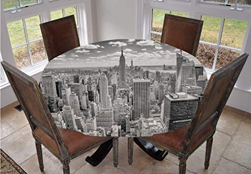 New York Round Tablecloth,NYC over Manhattan from Top of Skyscrapers Urban Global Culture Artful City Panorama Polyester Indoor Outdoor Tablecloth,90 Inch,for Dining Room Kitchen Party Grey
