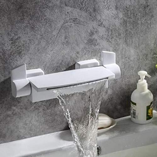 Cuenca del grifo baño grifo de la ducha de la bañera cascada grifo de la ducha Negro/Blanco/oro/cromo oculto montado en la pared Mezclador de hidromasaje Tap, blanca
