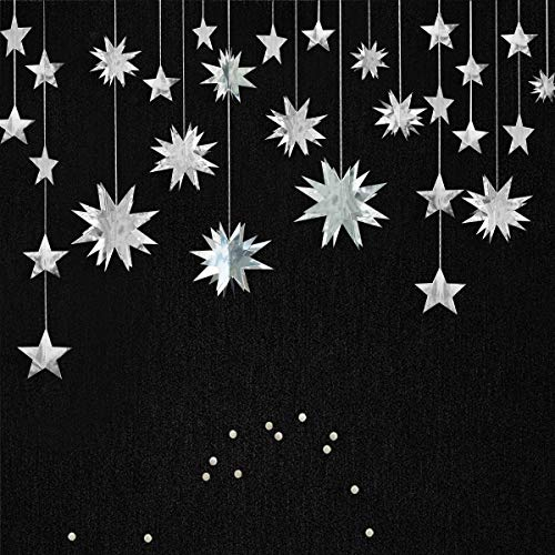 pinkblume Silver Star Garland Party Decorations Kit 3D Stars Metallic Bunting Banner for Holiday Xmas Birthday Wedding Baby Shower Hanging Decorations for Christmas Nursery Decor Clearance(4 Set)