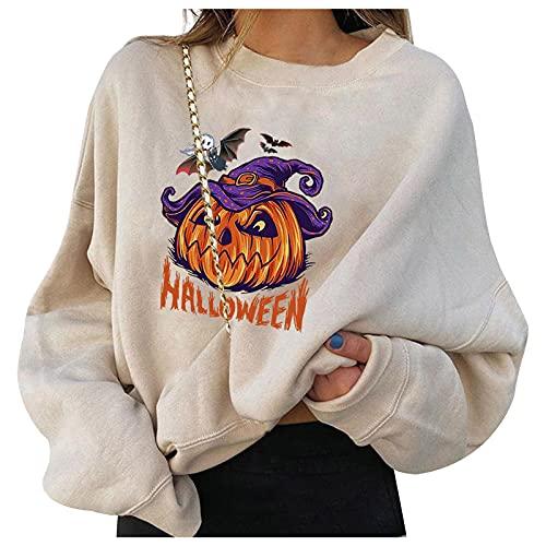 BOOMJIU Sudadera de Halloween para Mujer Diseño de Cara de Calabaza con Estampado de Manga Larga Otoño Invierno Moda Pullover