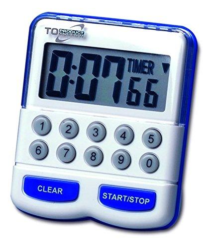 TFA Dostmann Elektronischer Timer und Stoppuhr, 38.2010, Kurzzeitmesser digital, Küchentimer, weiß/blau