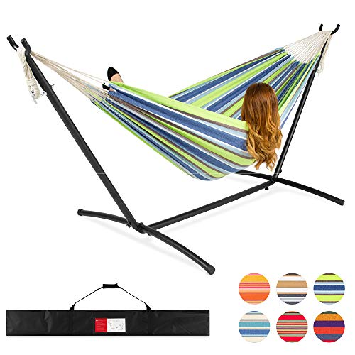 Best Choice Products 2-Person Indoor Outdoor Brazilian-Style Cotton Double Hammock Bed w/Carrying Bag, Steel Stand, Blue/Green Stripes