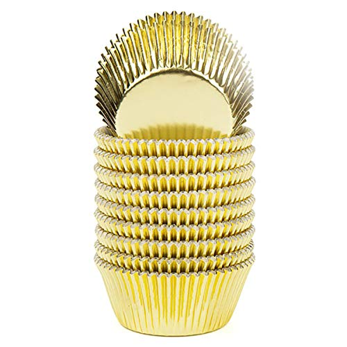 Vibrille Gold Foil Cupcake Liners Standard Muffin Baking Cups, 200-count