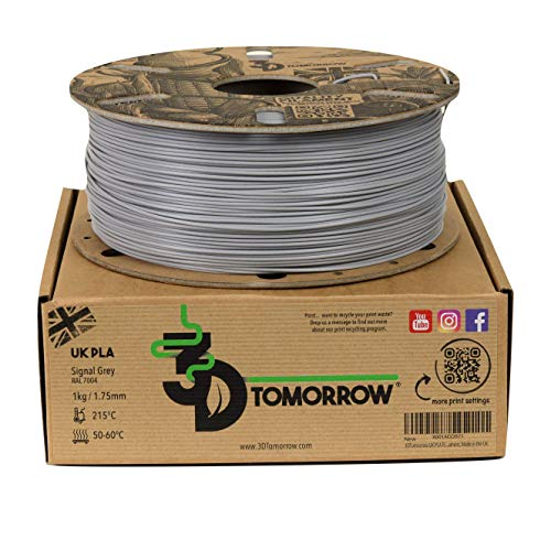 3DTomorrow UK PLA Filament - Signal Grey - 1.75mm, 1kg, 100% Recyclable Cardboard Spool Eco Friendly 3D Printer Filament, Made in the UK