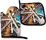 N\A Magic Guitarra eléctrica Música Cocina Horno Mitt Pot Holder Set, Resistencia al Calor Antideslizante Soportes de Guantes para Barbacoa Cocinar Hornear Parrilla Microondas