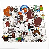 We Bare Bears Stickers Vinyl for Water Bottle Skateboard Guitar Suitcase Door Motorcycle Car Party Bags Phone Case DIY Decoration Waterproof Graffiti Unique Decal (42PCS)