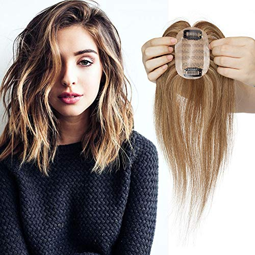 Elailite Hair Topper Donna Capelli Veri Extension Clip Human Hair Umani Silk Lace Toupet Protesi 23g Fascia Unica Toupee (35cm, 4# Marrone Cioccolato balayage 27# Biondo Scuro)