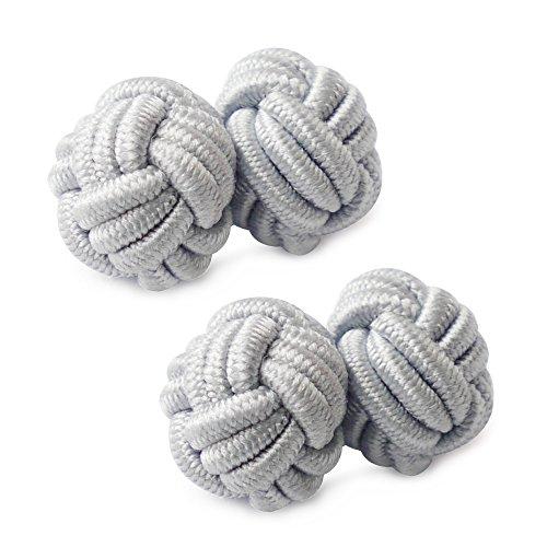 HONEY BEAR 1 Paar Herren/Damen Seide Stoff Knoten Seidenknoten Manschettenknöpfe für Hemd/Kleid zum (Hellgrau)