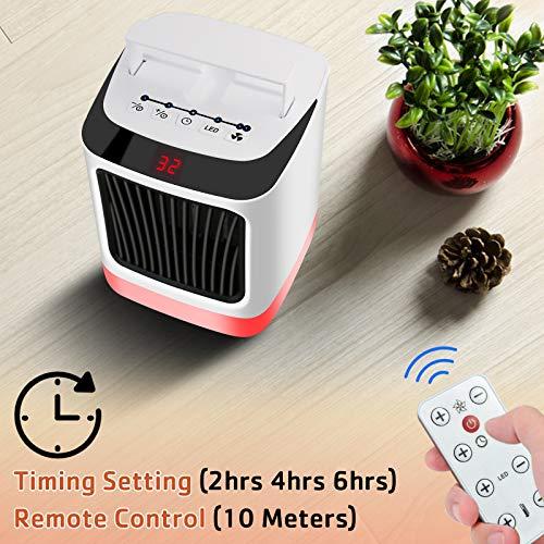 Riscaldatore elettrico portatile, riscaldatore spaziale in ceramica, mini riscaldatore da scrivania con ventilatore o ufficio o casa