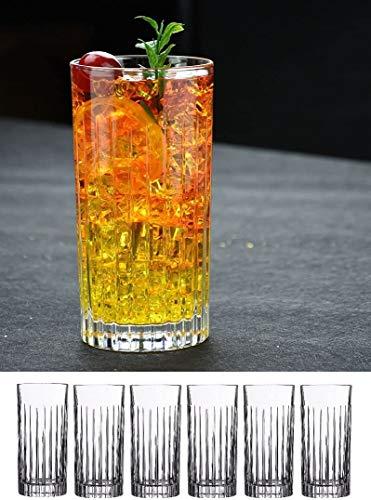 Le'raze Highball-Trinkgläser für Wasser, Saft, Bier, Wein und Cocktails, 6 Stück, 425 ml (New York) Muster, robuste schwere Basis, hohe Bargläser