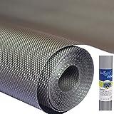 Bulfyss Multipurpose 60cm x 5m Super Strong EVA Anti-Slip Bathroom Kitchen Cabinet Drawer Shelf Mat Liner Sheets Roll, Fridge Mat, Table Mat (60cm X 5 Meters Roll, Metallic Grey)