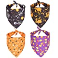 4PCS Halloween Dog Bandana Pet Halloween Bandana Pumpkin Ghost Witch Print Dog Puppy Halloween Bandana Pet Triangle Bibs Scarf Accessories for Dogs Cats Pets