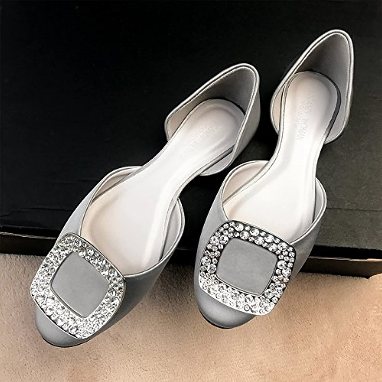 Xue Qiqi Court Schuhe Rhinestone-Quadratwlbung Flacher Kopf-Sandelholzsatin Flacher Mund Beschuht die Schuhe der Frauen