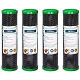 Lafiucy Filtro de agua de carbón activado de cáscara de coco de 5 micras y 10 pulgadas, CTO, paquete de 4, compatible con el sistema de filtración bajo el fregadero y la encimera del hogar
