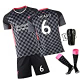 DFGVB Salah 10# Football Jersey, Liverpools Team Fussball Jersey Erwachsene Kinderhemd + Shorts + Socken Set (XS-XXL) Thiago-S