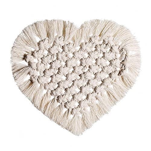 ABCABC Forma de corazón Tassels Aislamiento térmico Placemat Pad Coaster Mesa de Cocina Decoración Posavero Posavasos para Gafas (Color : Heart)
