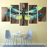 KOPASD 5 Paneles Pintura de la Lona Mural Libélula de Cerca Animal de Insectos Arte Fotos Paisaje Imprimir Decoración Moderna del Ministerio del Interior Sin Marco 200 * 100cm