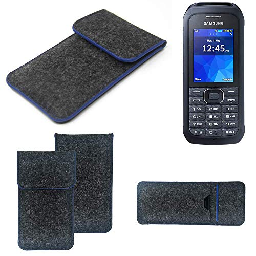 K-S-Trade Handy Schutz Hülle Für Samsung Xcover 550 Schutzhülle Handyhülle Filztasche Pouch Tasche Hülle Sleeve Filzhülle Dunkelgrau, Blauer Rand