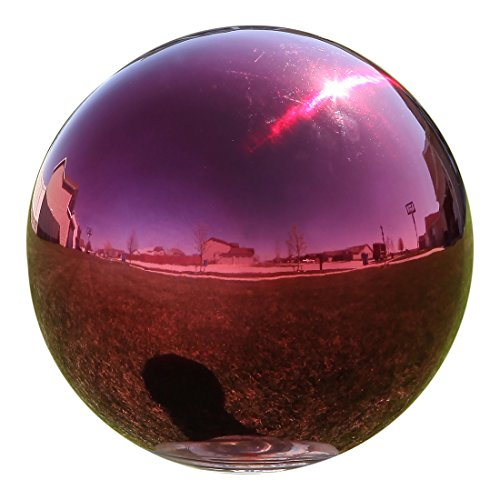 "Lily's Home Stainless Steel Gazing Globe Mirror Ball, Colorful and Shiny Addition to Any Garden or Home, Ideal As a Housewarming Gift, Sparking Red (10"" Diameter)"