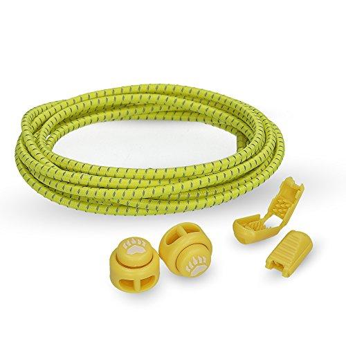 Bearformance Schnürsenkel mit Schnellverschluss Elastische Sportschnürsenkel - Schnellschnürsystem schleifenlos ohne binden (Gelb)