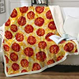 Sleepwish Pizza Blanket Big Pepperoni Pizza Blanket Cheese Pizza Sherpa Throw Soft Fleece Bedspread Home Decor All Season for Bed Couch Living Room (Throw(50'x60'))