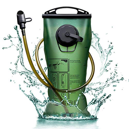 2 Liter Hydration Bladder, 2L Leak-proof Water Reservoir, Military Water Storage Bladder Bag, BPA Free Hydration Pack Replacement for Outdoor Hiking Camping Cycling Running, Dual Opening, Green