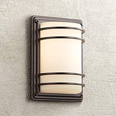"""Habitat Industrial Outdoor Wall Sconce Fixture Bronze and Warm Brass 11"""" Clear Glass for Exterior House Porch Patio - John Timberland"""