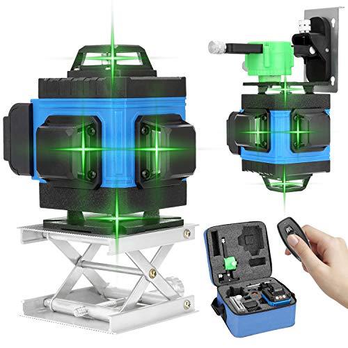 Kecheer Livello laser autolivellante 16 linea,Livella laser verde 4d con treppiede 360 rotante,con blue tooth controllo