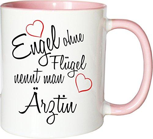 Mister Merchandise Becher Tasse Engel ohne Flügel nennt Man Ärztin Kaffee Kaffeetasse liebevoll Bedruckt Beruf Job Geschenk Weiß-Rosa