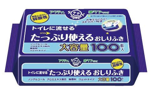 アクティ 楽ケア トイレに流せる たっぷり使える おしりふき 100枚入