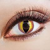 aricona Kontaktlinsen - Rosa Kontaktlinsen Motivlinsen Katzenaugen - bunte farbige Kontaktlinsen rose ohne Stärke für Karneval, Fasching, und Kostüm-Partys, 2 Stück
