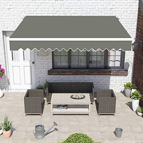 Greenbay Grey DIY Manual Patio Awning, Retractable Gazebo Outdoor Canopy, Garden Sun Shade - 3m x 2.5m