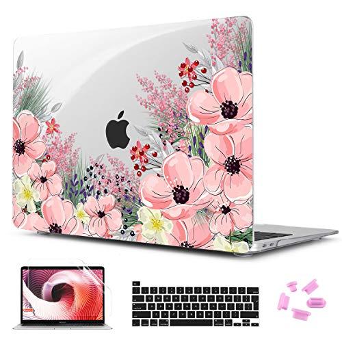 TwoL Funda Rígida de Plástico y Piel de Teclado y Protector de Pantalla para 2020 MacBook Pro 13 A2289 A2251