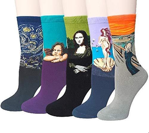 Justay 4/5 Paar Herren Socken, Bunt Gemusterte Berühmte Gemälde, Mode Trend Crew Socken Herren, Baumwolle EU 39-45, Geschenk für Männer MEHRWEG