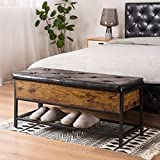 Apicizon Industrial Shoe Storage Bench, End of Bed Bench with Padded Seat and Metal Shelf, Multifunctional Storage Ottoman for Bedroom, Hallway, Living Room, Entryway, Rustic Brown