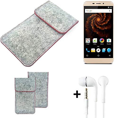 K-S-Trade® Handy Schutz Hülle Für Allview X4 Soul Mini Schutzhülle Handyhülle Filztasche Pouch Tasche Hülle Sleeve Filzhülle Hellgrau Roter Rand + Kopfhörer