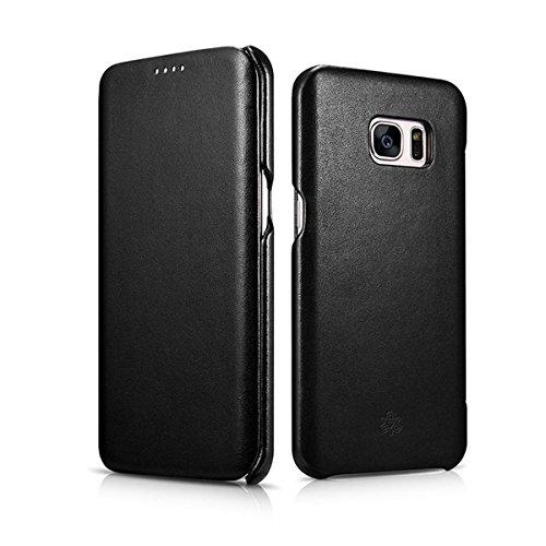 NOVADA Custodia in Vera Pelle per Samsung Galaxy S7 Edge - Ultra Sottile Folio Flip Cover - Nero