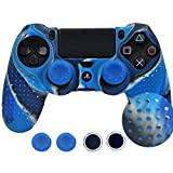 SKINOWN Silicone Case Anti-Slip Protective Grip Cover for PS4 Controller with 4 Thumb Grips(Blue Camo)