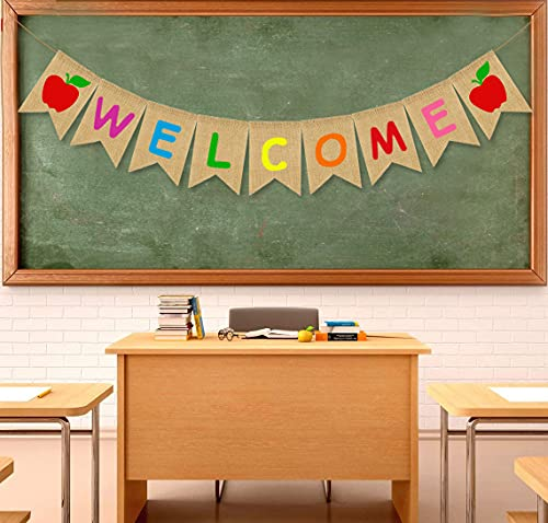 JOZON Welcome Burlap Banner First Day of School Bunting Banner Garland with Apple Sign Classroom Party Decorations Back to School Decorations for Students and Teachers Schoolyard Party Supplies