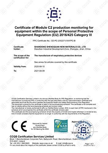 40 Stück – denkturm® FFP2 Maske, Atemschutzmaske, CE Zertifikat CE2834, geprüft EN149:2001+A1:2009 FFP2 NR - 6