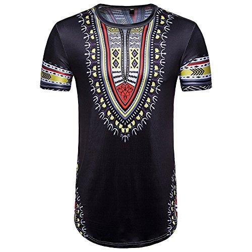 TWIFER Sommer T-Shirt Herren Casual Afrikanischen Gedruckt O Hals Pullover Kurzarm T-Shirt Top Bluse