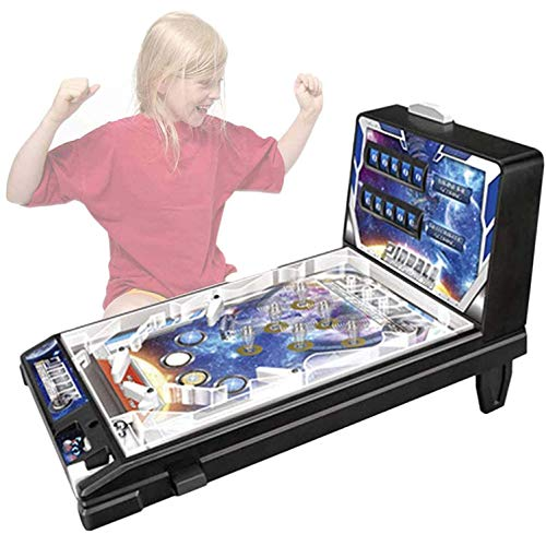 MUJING Space Pinball Game Machine Mini Pinball Toy Pinball Game Child Puzzle Pinball Machine con Sonido Iluminado Toy Game Machine Kids Pinball Style Table Board Game Retro Arcade